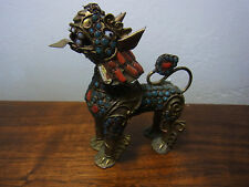 Antique Chinese  Foo Lion Dog Snuff Bottle Coral Turquoise Inlay #J