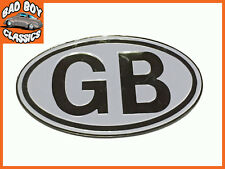 Metal White GB Badge Emblem Self Adhesive Classic, Kit Car, Hot Rod