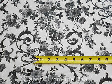 Beacon Hall Tuxedo Black Rose FLowers on White BY YARDS Northcott Cotton Fabric