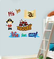 It's a Pirates Life For Me Wall Art Stickers Childrens Ship Pan Jake 80cm x 40cm