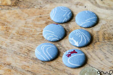 6 Handmade Blue Japanese Patterns Flat Back Covered Button Craft 40L 25mm VAT