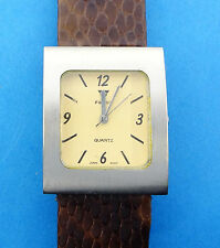 Focus Women's Brushed Silvertone Quartz Leather Strap Watch Model F-2123 NWT