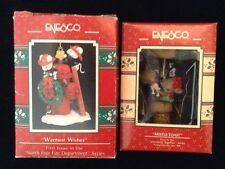 NORTH POLE FIRE DEPARTMENT & MISTLE-TOAST 2 Enesco Mice Ornaments #1 Vtg 1990