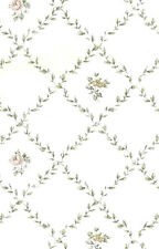 Vintage Wallpaper Pink Rose Cottage White Green Leaf Diamond Westchester ES40061