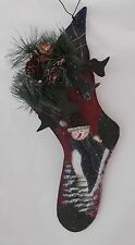 "12 1/2"" METAL TIN STOCKING HANGING DECORATION~XMAS~WALL DECOR~HOLIDAY"