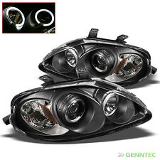 For 1999-2000 Honda Civic Twin Halo Pro Headlights Black Head Lights Lamp Pair