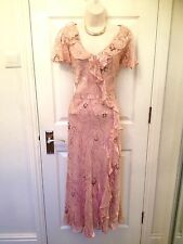 Country Casuals Blush Pink Burnout Silk Special Occasion Maxi Dress Size 16