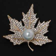 Canadian Maple Leaf Diamante Rhinestone Pearl Brooches Pins Women Golden