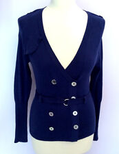 KAREN MILLEN BLUE V NECK BELTED CARDIGAN SIZE 4 UK 14