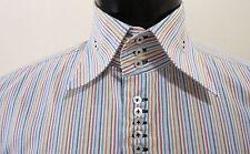 Comme Des Garcons Multi-Color Striped Shirt Mens 17-33/34 Unique Button Detail