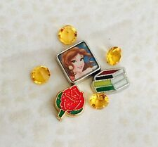 DISNEY PRINCESS BEAUTY & BEAST BELLE Floating Charm And Crystals Set