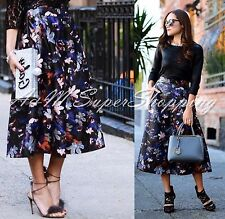 ZARA BLACK FLORAL PRINTED LEATHER EFFECT SKIRT MIDI SIZE SMALL S 8 UK 36 EU 4 US