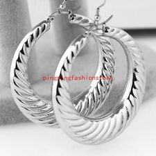Fashion Silver Stainless Steel Big Hoop Earrings Women Girl Jewelry Top Quality