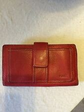 Fossil wallet red leather ladies clutch fold over snap front silver hardware