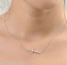 new ladys Horizontal Sideways Cross 14k  white Gold Plated Pendant Necklace