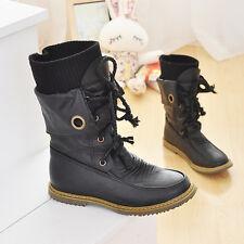 Damen Leder Stiefel Stiefeletten Flach Boots Schnürer Bikerstiefel Winter Schuhe