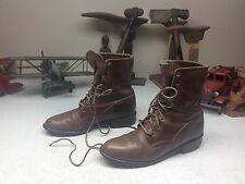 BROWN JUSTIN DISTRESSED USA GRANNY LACE UP ENGINEER WORK BOSS BOOTS 5.5