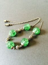 VINTAGE ART DECO GREEN EDWARDIAN GLASS BEAD NECKLACE