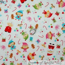 BonEful FABRIC FQ Cotton Flannel VTG Xmas Elf Red White Dot Candy Cane Doll Girl