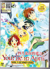 *NEW*   YOUR LIE IN APRIL   *22 EPISODES + OVA*ENGLISH SUBS*ANIME DVD*US SELLER*