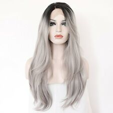 Grey Ombre Black Roots Natural Straight Soft Hair Synthetic Lace Front Wig 22 in