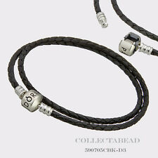 "Pandora Sterling Silver Double Black Leather 16.1"" Bracelet 590705CBK-D3"