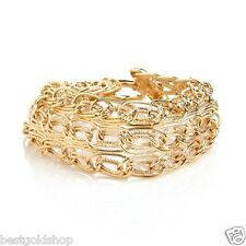 "8"" Technibond Multi Row Oval Link Bracelet 14K Yellow Gold Clad 925 Silver"