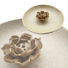 Ceramic incense holder burner Stick Lotus Ash Catcher plate handmade Natural
