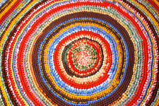 Hand knitted Red Colourful Rug, Boho carpet, stripes, Oval 105 cm 41 inch Hippie