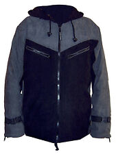 BLACK & GREY long HOODED WARM fleece lined MENS JACKET S M psy trekking outdoor