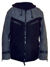 BLACK & GREY long HOODED WARM fleece lined MENS JACKET M L psy trekking outdoor