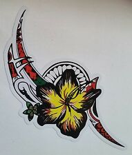 TRIBAL HIBISCUS VINYL DECAL STICKER -Car Tattoo Surfing Surfboard FRANGIPANI