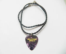 "HOLLYWOOD UNDEAD guitar pick plectrum braided twist LEATHER NECKLACE 20"" PURPLE"