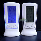New LED Digital Desk Alarm Clock Calendar Thermometer Snooze With Blue Backlight