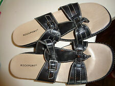 Rockport Black Leather Two Strap Sandals W/Toe Thong & Buckle Hardly Worn 7M