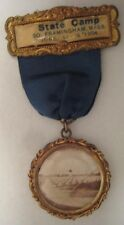 Old 1904 State Camp Military Photo of Tents on Medal w/ Ribbon Framinham Mass