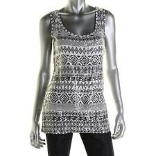 INC International Concepts Aztec Pattern Sleeveless Top Sequinned Front Size M O