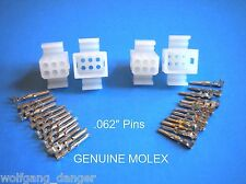 """6 Circuit Connector - Set of 2 Complete Molex Wire Connectors with Pins  .062"""""""