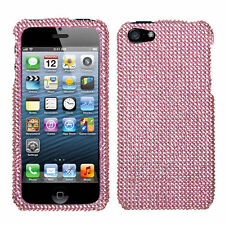 For Apple iPhone 5 5S SE Crystal Diamond BLING Hard Case Snap Phone Cover Pink