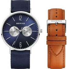 Bering Time - Classic - Unisex Silver & Blue Multifunction Watch w/ 2 Straps