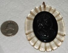 """LARGE VINTAGE CARVED OVAL LUCITE W/OVAL BLACK CAMEO PENDANT 2 3/4""""H X 2 1/4""""W"""