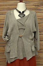 *ZUZA BART*DESIGN EXCLUSIVE BEAUTIFUL 100% LINEN 2 PCS TOP+JACKET*BEIGE*SIZE M-L