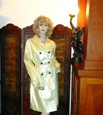 NWT L Shiny Pearl Yellow PVC Vinyl Raincoat Trench Coat Rain Slicker NEW