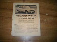 REVUE TECHNIQUE évolution des PEUGEOT 504 Ti - coupé et cabriolet depuis 1979