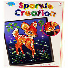LARGE Make Your Own Sequin Creation Childrens Pin Art Craft Set DEER FAWN BAMBI