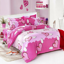 Sale Heart Angel Girl Double Queen Size Bed Set Pillowcase Quilt Duvet Cover O