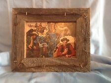 1950s WESTERN COWBOYS DECOUPAGE BOOK COVER ART BARNBOARD & BARBED WIRE FRAME
