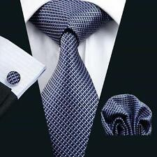 NEW ITALIAN DESIGNER BLUE SMALL CHECK SILK TIE, HANKY, CUFFLINKS