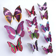 Purple 3D DIY Butterfly Wall Sticker Butterfly Home Decor Room Stickers 12Pc G