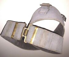 Vintage Green Webbing BELT Brass Hardware Adjustable British Military 1937-1960s